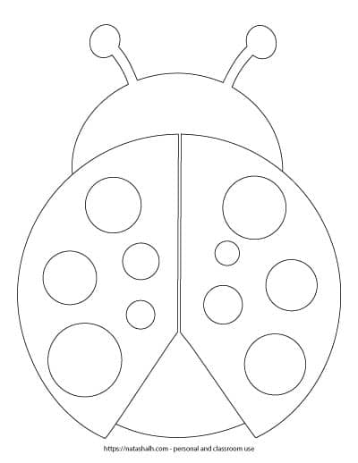 free printable large ladybug template with spots