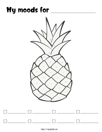 A monthly mood tracker pineapple with spaces to color