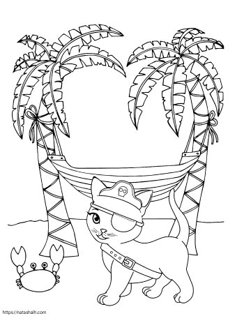 coloring page of a pirate cat wearing an eye patch on a beach with two palm trees, a hammock, and a crab