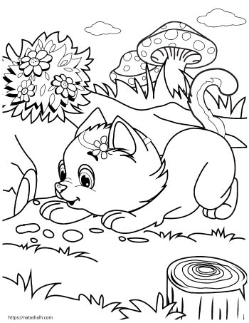 Cartoon cat playing outside with giant mushrooms in the background