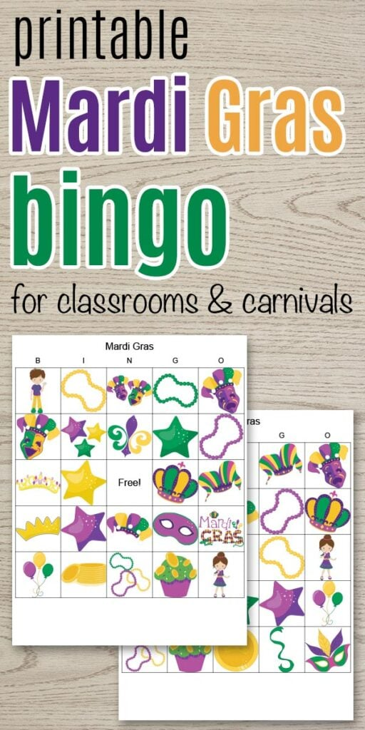 "Text ""printable Mardi Gras bingo for classrooms and carnivals"" with a preview of two printable Mardi Gras bingo games"