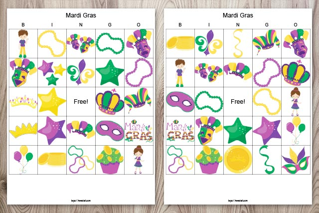 Two printable Mardi Gras bingo boards on a wood background. The images are family friendly for kids and classrooms.
