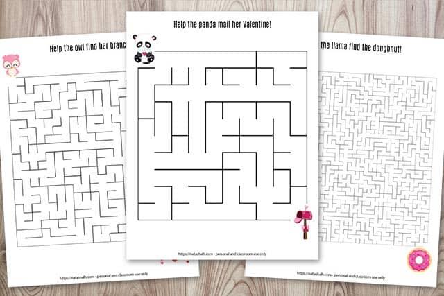 Three mazes for children featuring Valentine's Day images