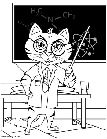 Coloring page of a cat in a lab coat with glasses teaching a chemistry class