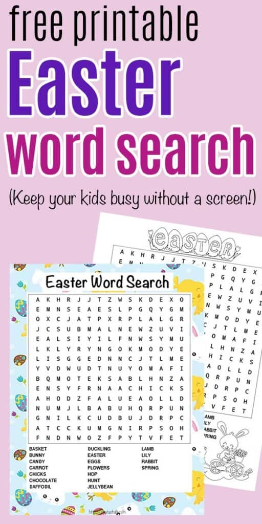 """Text """"free printable Easter word search (keep your kids busy without a screen!) on a pink background with word search for Easter printable"""