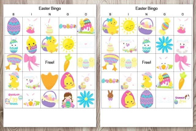 Two free printable Easter bingo cards for kids on a wood background