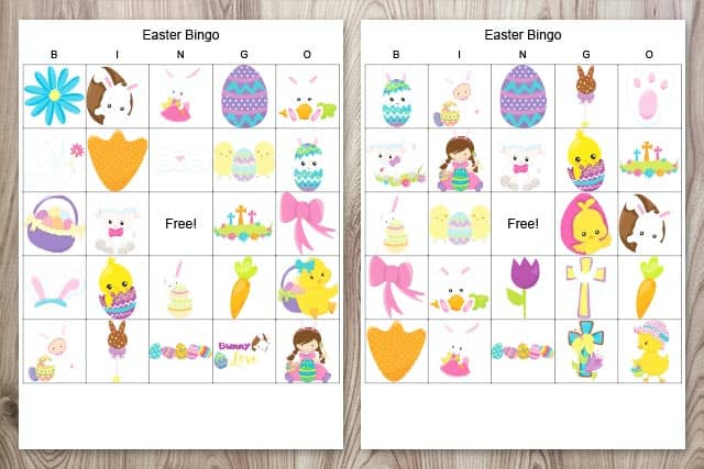 two free printable Easter bingo boards with religious images