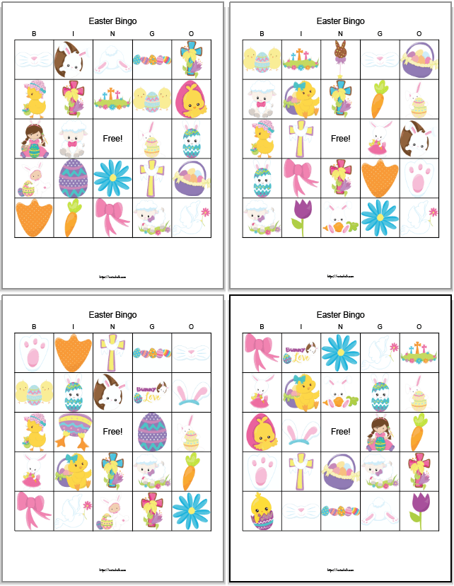 four printable Easter bingo boards with religious images