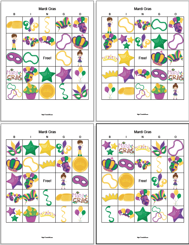 four printable Mardi Gras bingo boards featuring family-friendly cartoon images