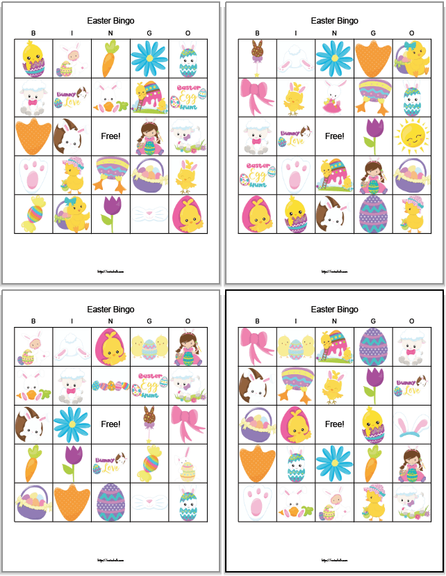 a preview of four printable Easter bingo boards featuring secular Easter images