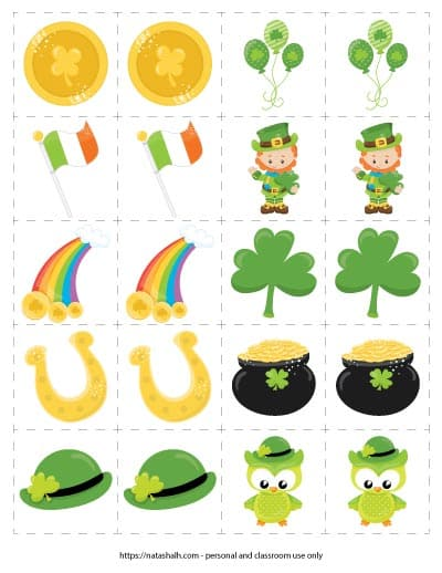printable St. Patrick's Day matching card game with images of a coin, the Irish flag, a rainbow, a horseshoe, a bowler hat, balloons, a leprechaun, a shamrock, a pot of gold, and an St. Patrick's Day owl