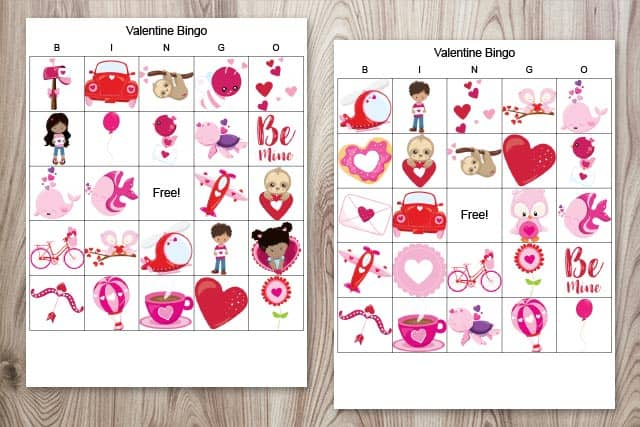 Two bingo boards featuring Valentine's Day images