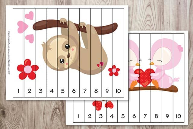 Number building puzzles for preschoolers with a Valentine's Day sloth and pair of owls