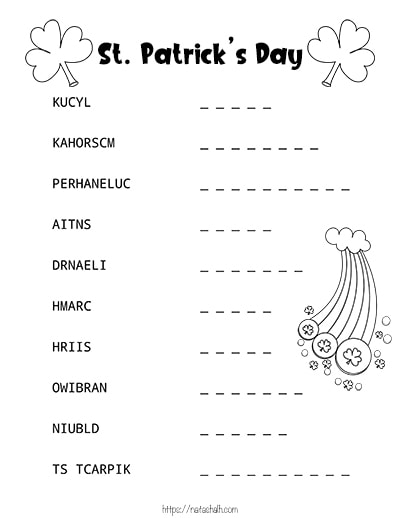 Free printable St. Patrick's Day word scramble with shamrocks and a rainbow to color.