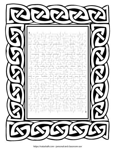Free printable difficult St. Patrick's Day maze inside a Celtic knot frame