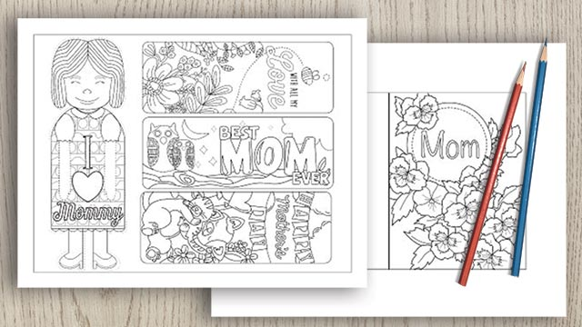 a preview of four printable Mother's Day bookmarks to color and a printable Mother's Day card