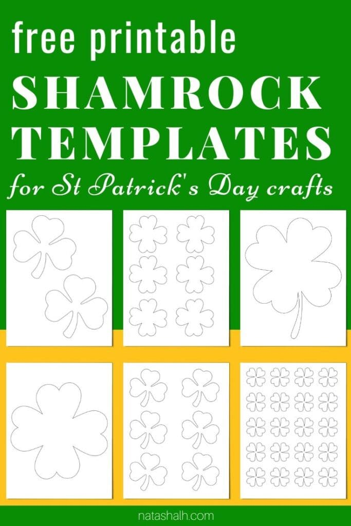 "text ""Free printable shamrock template"" on a green and gold background with six printable shamrock and four leaf clover templates"