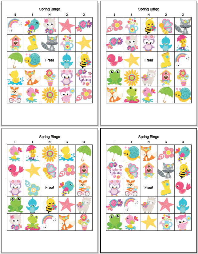 four printable spring bingo cards featuring cartoon spring animals and flowers