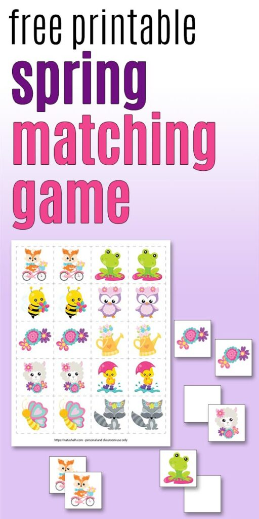 """""""free printable spring matching game for kids"""" on a purple background with a preview image of the memory cards with cute spring animals and flowers"""