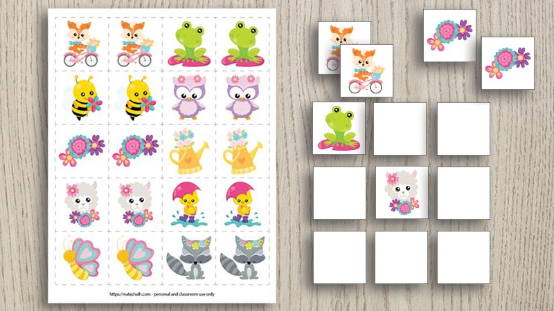free printable spring memory game featuring cute cartoon spring animals and flowers