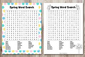 Free Spring Word Search Printable (cute color & ink-saving black and white!)
