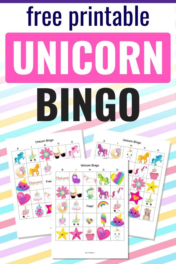 "text ""free printable unicorn bingo"" on  a rainbow stripe background with three printable unicorn bingo cards"