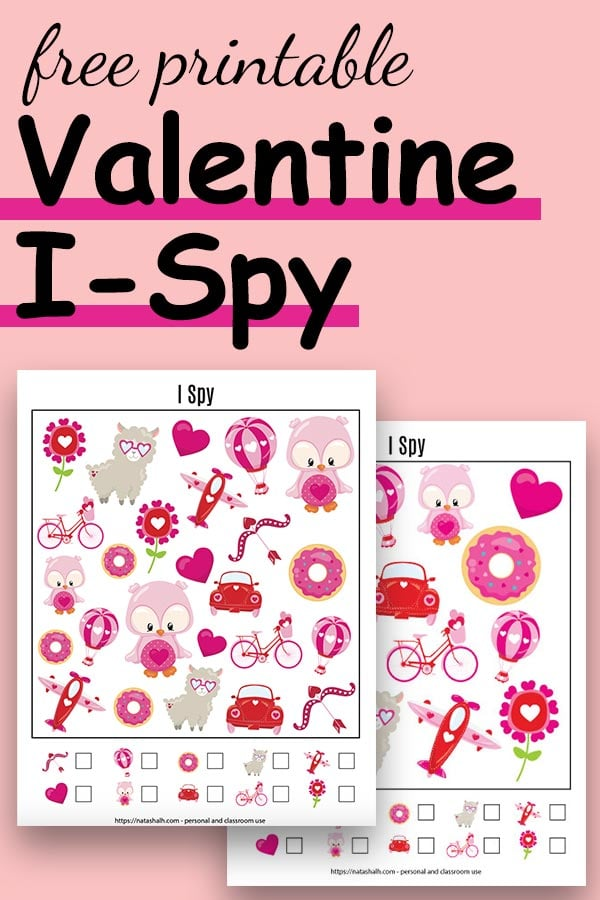 "Text ""free printable Valentine I-Spy"" with a preview of two printable I Spy game with cartoon Valentine's images"