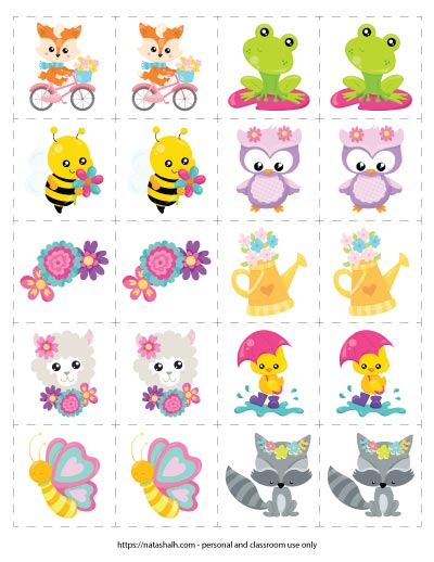 Preview of a spring memory card/marching card game with 10 different spring animal and flower cartoon images