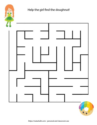 printable easy St. Patrick's Day maze for kids with an Irish girl and a rainbow doughnut