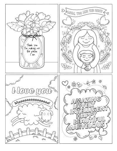 A set of four free printable Mother's Day postcards to color. One has flowers, another has a mother with her child, the third has a sheep, and the fourth has word art with adjectives describing a mom