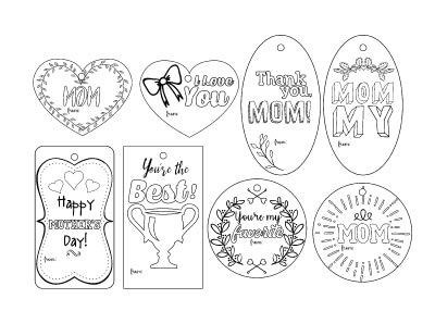 8 printable Mother's Day gift tags to color. Two are rectangles, two are circles, two are ovals, and two are hearts.