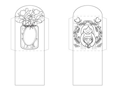 Coloring page tea bag wrapper printables for Mother's Day. One has a jar of flowers and the other has a mother with her child