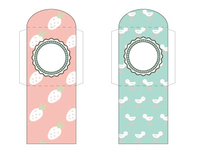 Cute spring printable tea bag wrappers. One has strawberries and the other has ducklings.
