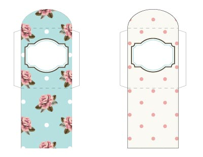 Feminine printable tea bag wrappers. One is blue with roses and other other is cream with pink dots.