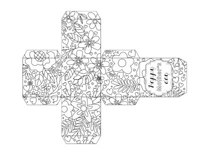 "A small printable gift box to color featuring a floral pattern and text ""Happy Mother's Day"""