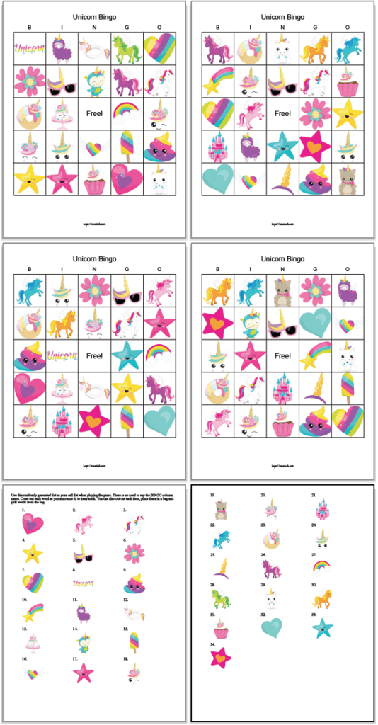 four printable unicorn bingo boards with cute unicorn illustrations. There are also two printable calling cards with the unicorn pictures.