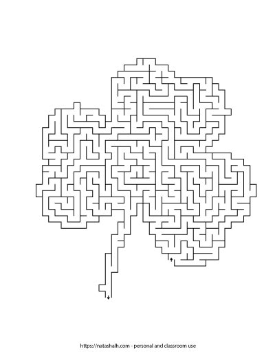 Shamrock shaped maze for St. Patrick's Day