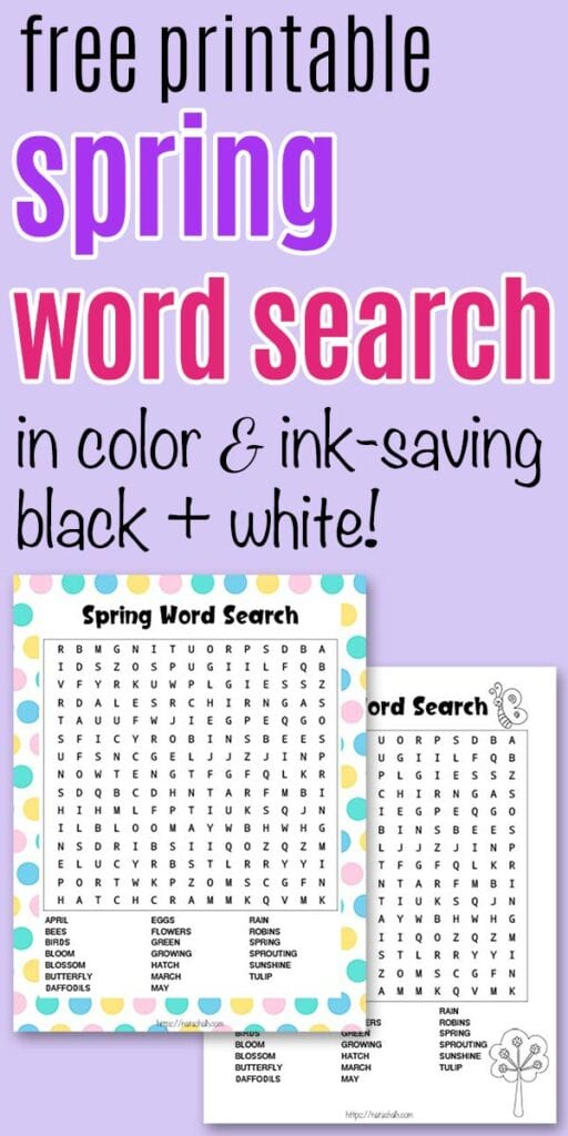 "text ""free printable spring word search in color and ink-saving black and white"" on a purple background with a preview of the printable word search for spring"