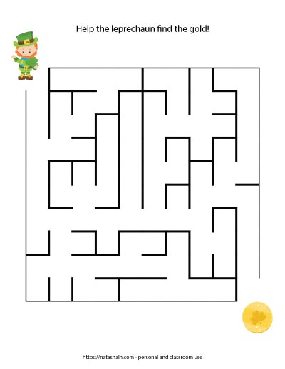Printable easy St. Patrick's Day Maze with a leprechaun