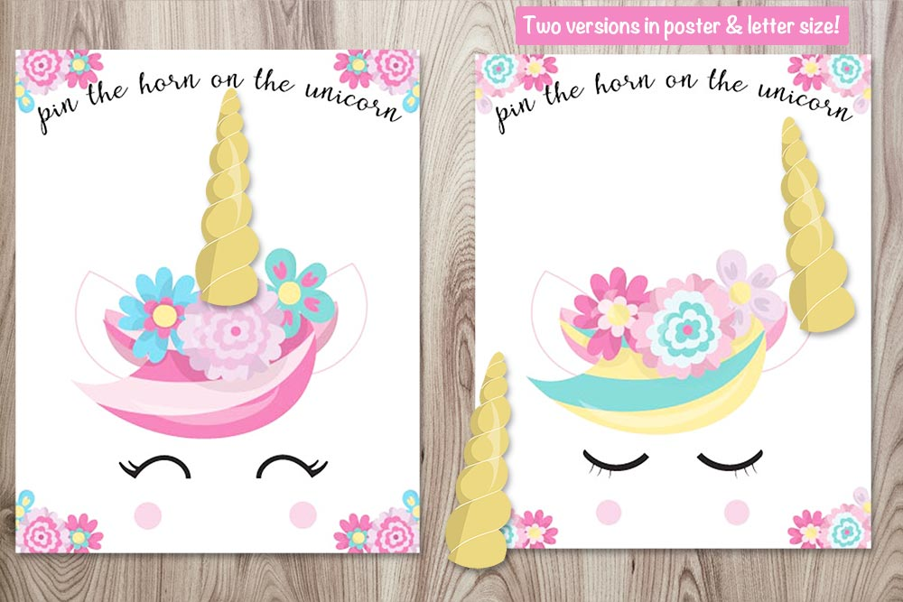 Free Printable Pin The Horn On The Unicorn (poster And Letter Sizes!) - The  Artisan Life