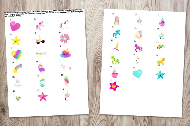 call cards for free printable unicorn picture bingo