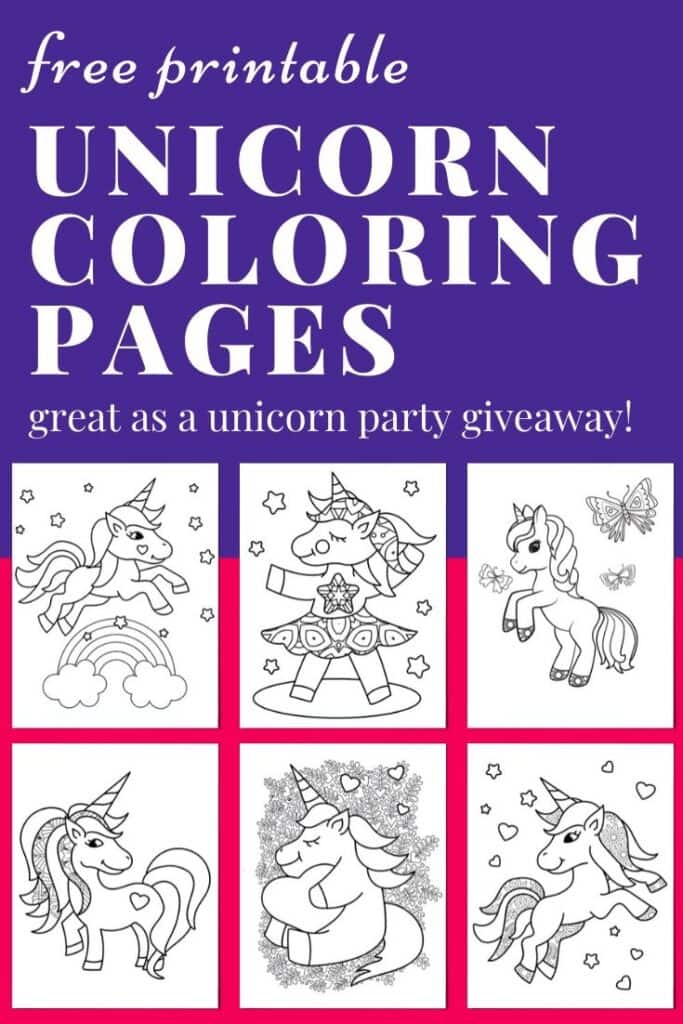 "text ""free printable unicorn coloring pages - great as a unicorn party giveaway"" with six cute free printable unicorn coloring sheets"