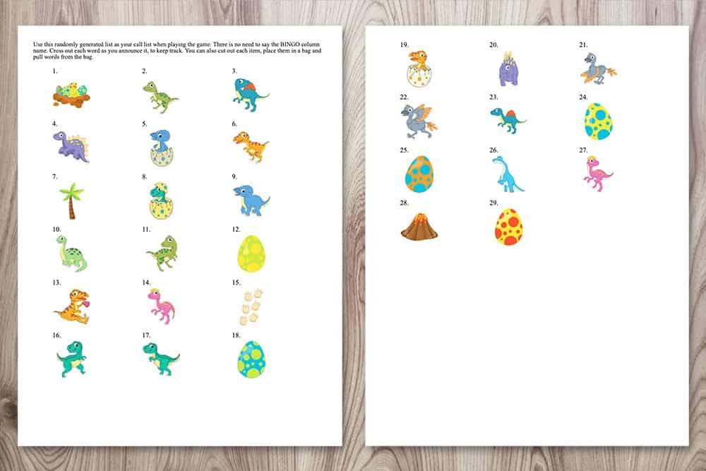 calling cards for free printable dinosaur bingo game