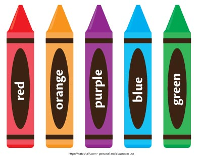 five printable crayon templates. They are colored and labeled: red, orange, purple, blue, and green