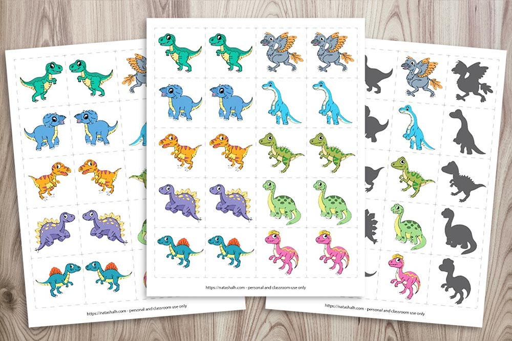 dinosaur matching cards on a wood background. They feature 10 popular dinosaurs: Tyrannosaurus Rex Triceratops Velociraptor Stegosaurs Spinosaurus Archaeopteryx Brachiosaurus Allosaurus Apatosaurus Dilophosaurus
