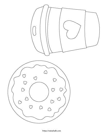 free printable donut coloring page with a cup of coffee and a donut with heart sprinkles