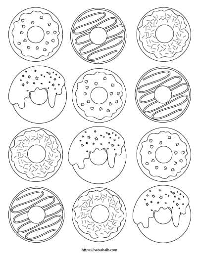 A coloring page with a dozen doughnuts to color. The donuts have icing and sprinkles.