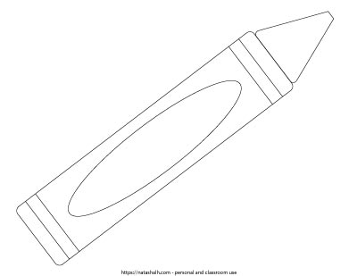 "11"" long black and white crayon template. Extra large crayon template."