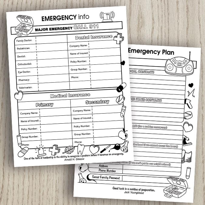 emergency info planner page and family emergency panner page on a wood background