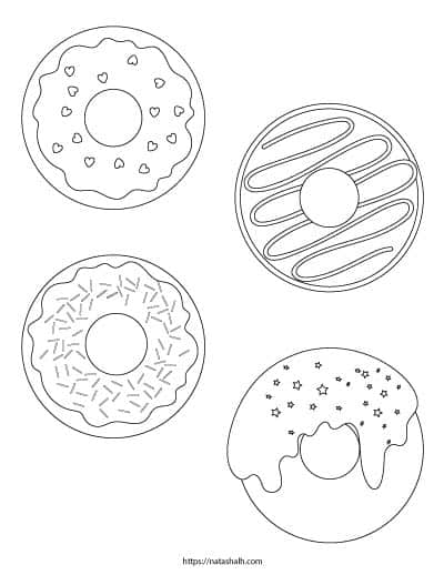A coloring page with four donuts to color. One has heart sprinkles, another has icing, one has basic sprinkles and the other has dripping icing with star sprinkles.